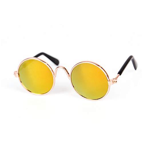 Sungpunet Coole Mode und Spaß Pet Sonnenbrille Classic Retro-runde Metall Prince Sonnenbrille Katze oder Hund Mode Kleidung - Red Reflective Stil