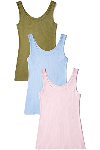 Iris & lilly canotta in cotone modale soft stretch donna, pacco da 3, multicolore (olive/candy pink/chambray), medium