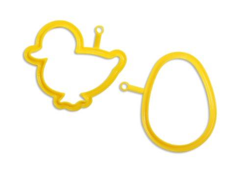 EGG03 + EGG08 Kit de 2 moldes de Silicona para Hacer Huevos con Forma de pájaro y Huevo, Color Amarillo width=