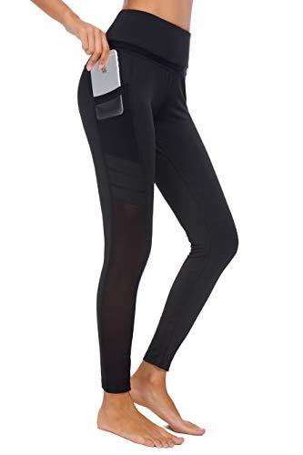 Munvot Damen Sporthose Sport leggings Tights, U3916 - Schwarz (Tech Mesh), L (DE40-42) -