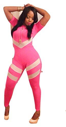 Neue Damen Full Länge Pink & Weiß Jumpsuit Catsuit Spielanzug Bodysuit Club Wear Kleidung Größe UK 10EU (Full Weißen Bodysuit)