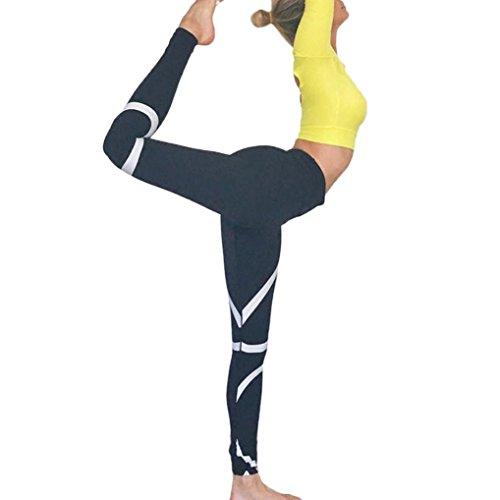 SHOBDW Damen Splice Yoga dünne Workout Gym Leggings Fitness Sport beschnitten Hosen - Beschnitten Spandex-leggings