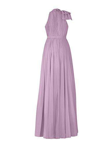 Dresstells Robe de demoiselle d'honneur Robe de cérémonie forme empire en mousseline longueur ras du sol Jaune
