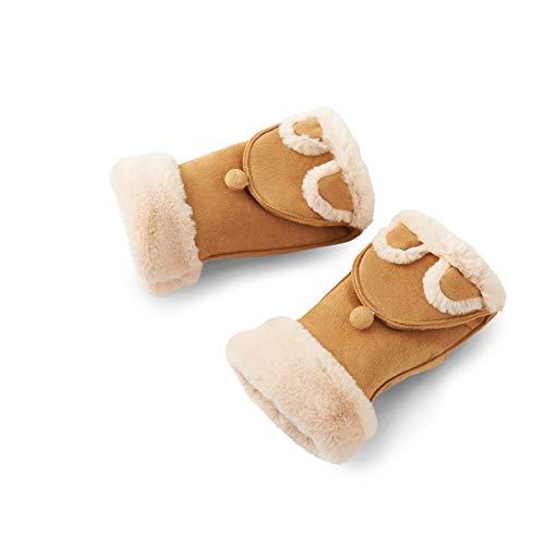 Cotton Padded Flip Mitts Female Winter Cute Cartoon Half Finger Gloves Student Warm Gloves Flip Mitt