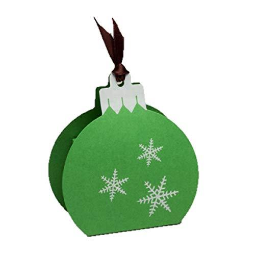 Ballotins à dragées - boites à chocolat Noël ORIGINALE CLASSE ELEGANTE Forme boule de Noël Vitamine ou Nacré avec impression blanc ou argent couleurs au choix x6 noël mariage baptême communion anniversaire- (Perlé Vert imp. blanc)