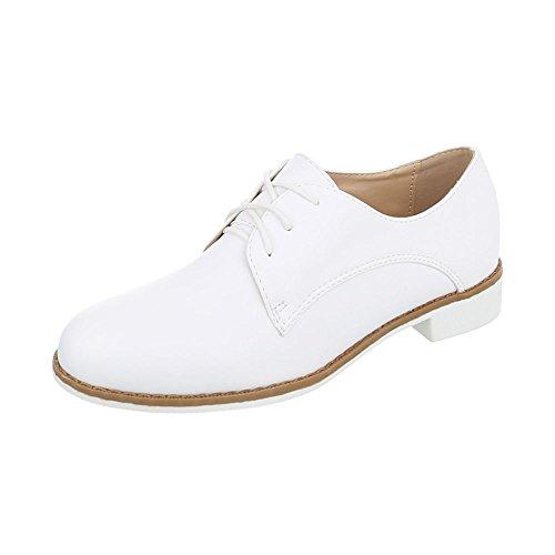 Ital-Design Schnürer Damen-Schuhe Oxford Blockabsatz Schnürer Schnürsenkel Halbschuhe Weiß, Gr 40, F169-15-1-