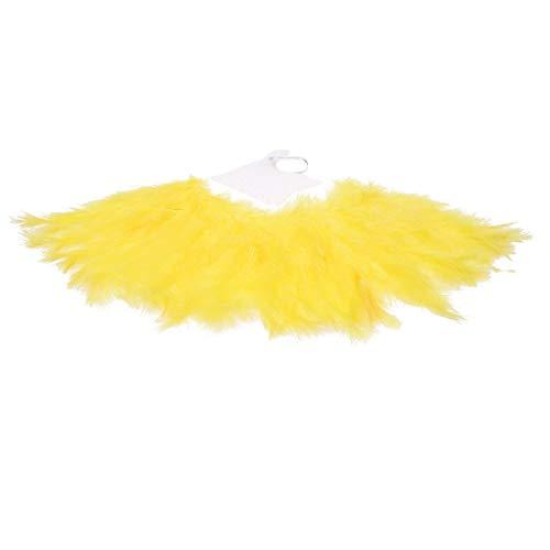 Burlesque Fan Dance Kostüm - HAHENNIENS 20er Vintage Feather Fan Flapper Dance Roaring Gatsby Burlesque Handheld Marabou Feather Zubehör (Gelb)