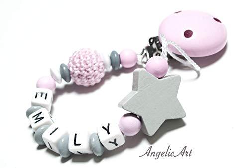 Schnullerkette mit Namen - Junge Mädchen - VIELE MODELLE - Häkelperle 3D Tiere Motivscheiben (rosa,Stern)