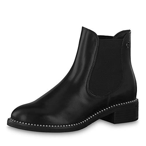 Tamaris Damen Stiefeletten 25042-23, Frauen Chelsea Boots, Freizeit leger Stiefel halbstiefel Stiefelette Bootie Schlupfstiefel,Black,40 EU / 6.5 UK