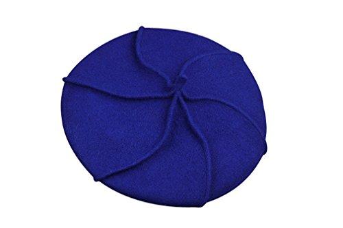 ACVIP Femme Fille Mode Accessoire Béret Chapeau Bonnet Casquette en Laine Hiver Chaud Feutre Elégant Bleu