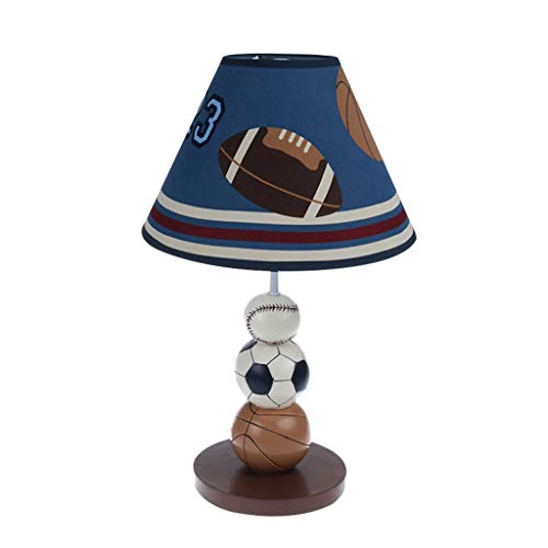 Bambini Desk Lamp, Lampade da scrivania bello del fumetto Calcio Basket in legno massiccio Base Table Lamp Stanza Writing Desk Luci decorative (Size : 25 * 41cm)