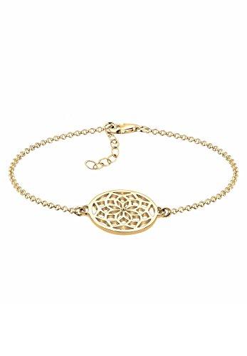 Elli Damen Schmuck Echtschmuck Armband Gliederarmband Traumfänger Ornament Cut Out Blogger Sterling Silber 925 Vergoldet Länge 17 cm