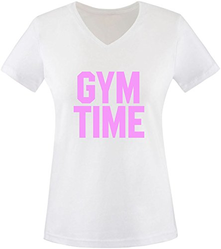 EZYshirt® Gym Time Damen V-Neck T-Shirt Weiss/Rosa