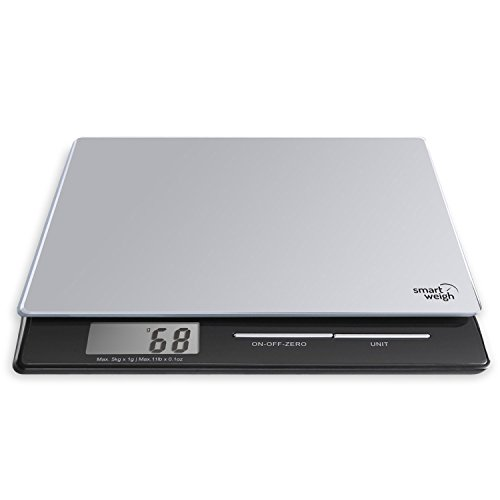 smart-weigh-pl11b-professional-digital-kitchen-and-postal-scale-with-tempered-glass-platform-silver