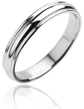 Paula & Fritz® Ring aus Edelstahl Chirurgenstahl 316L silber Ehering Rillen 4mm breit Ringgrößen 47 (15) – 69...