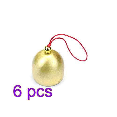 Firlar Lot de 6 Cloches de Noël Traditionnelles en cuivre pour Sapin de Noël