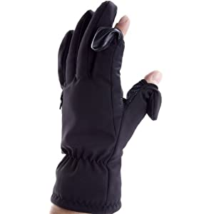 Easy Off Gloves Unisex Ski- und Fotografie Handschuhe. Zurückklappbare und magnetverschliessbare Fingerenden mit Reissverschlusstasche für Memory Cards