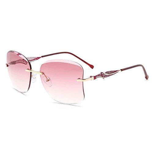ZAQXSW Unregelmäßige Sonnenbrille mit großem Rahmen und rahmenloser, Flacher Spiegelbrille für Europa und Amerika (Farbe : Rosa)