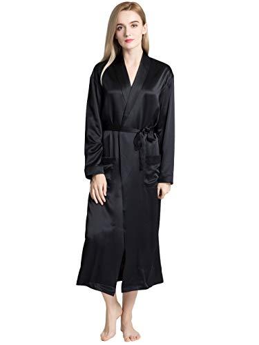 ElleSilk Damen Bademantel 100% Seide Bademantel für Frauen 22 Momme lang/kurz - Schwarz - X-Small -