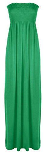 Oops Outlet Damen Bandeau-Maxikleid, ärmellos, Damen, Gr. 36-54 Sheering lang Grün - Jade Green