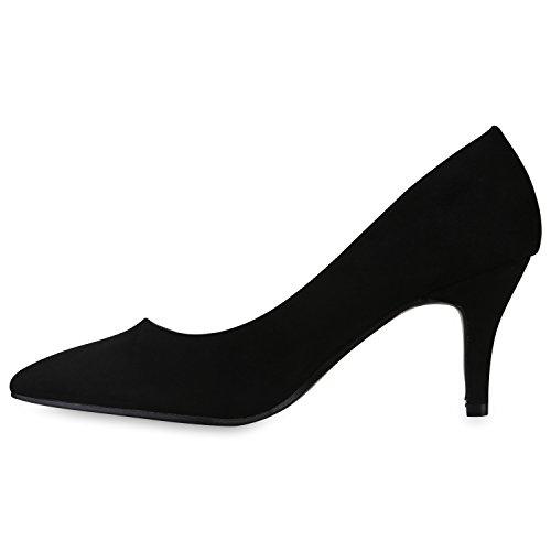 Spitze Damen Pumps High Heels Stilettos Klassische Abendschuhe Veloursleder-Optik Schuhe Schnallen Kroko Prints Flandell Schwarz Camiri