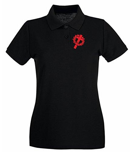 Cross-cut-polo (T-Shirtshock - Polo fur frau FUN1107 crown cross die cut vinyl decal sticker 82077, Größe M)