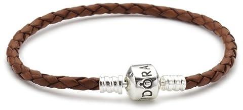 Pandora - 59705CBN-S2 - Bracelet Femme - Cuir Marron - Argent 925/1000 - 19 cm