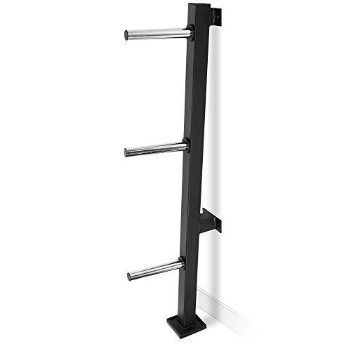 GORILLA SPORTS® Hantelscheibenständer mit 3 Scheibenaufnahmen 30/31 mm Wandmontage - Ablage Schwarz bis 300 kg belastbar