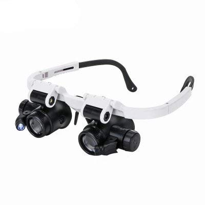 RanDal 9892H-1 8X 15X 23X Beleuchtete Goggle Style Lupe Lupe Mit Led - Weiß
