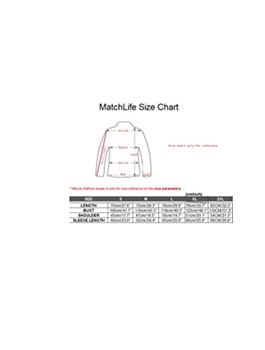MatchLife Nouveau Manteau Veste Confortable Hommes Col V Fermeture Zip A Doublure Chemise Class Affaire , Business Kaki Fonce