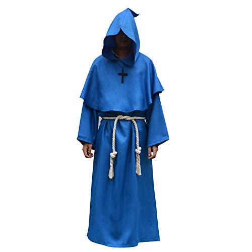 Pest Kostüm Ritter - Mittelalterlichen Kostüm Männer Tunika Mit Kapuze Robe Mantel Ritter Gothic Kostüm Halloween Maskerade Cosplay Kostüm Cape,Blau,L