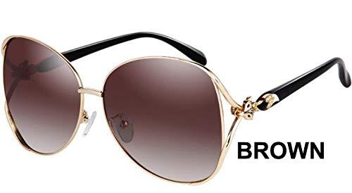 LKVNHP Schwarz Großen Rahmen Oval Metall Sonnenbrille Frauen Polarisierte Trendy Retro Uv400 Mode Fahrer Sonnenbrille WeiblicheWPGJ124 BRAUN