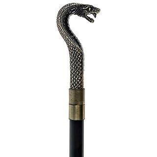 aubaho Walking stick cane snake cobra wooden handle antique style