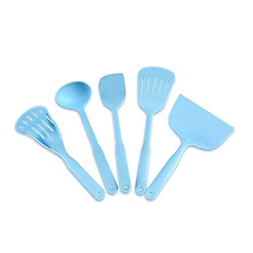 GXMREN Antihaft Silikon Geschirr-Küchenhelfer Sets,Nylon-Isolierwerkzeug,5 Sätze,Dreher,Spatel,hohe Temperaturbeständigkeit,leicht zu reinigen,Aufhängeloch-Design,leicht zu lagern
