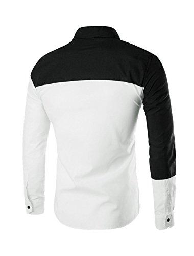 sourcingmap Hommes Manches Longues Couleur De Contraste boutonné Chemise Coupe Cintrée Blanc