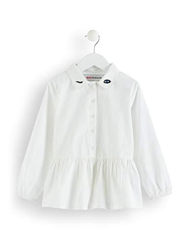 RED WAGON Mädchen Bluse mit Schößchen und Stickerei, Weiß (White), 128 (Herstellergröße: 8 Jahre)