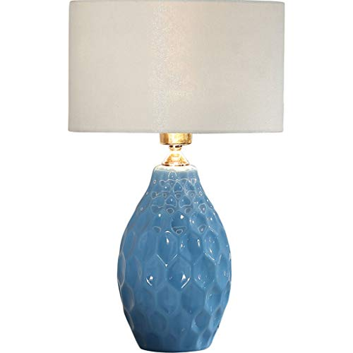 Wangyi Tischlampe- Nordic Keramik Tischlampe Schlafzimmer Nachttischlampe Arbeitszimmer Wohnzimmer Einfach Und Modern, Blau, Weiß, Gelb (Farbe : Blau-48x30cm) (Gelb Moderne Keramik-tischlampe)