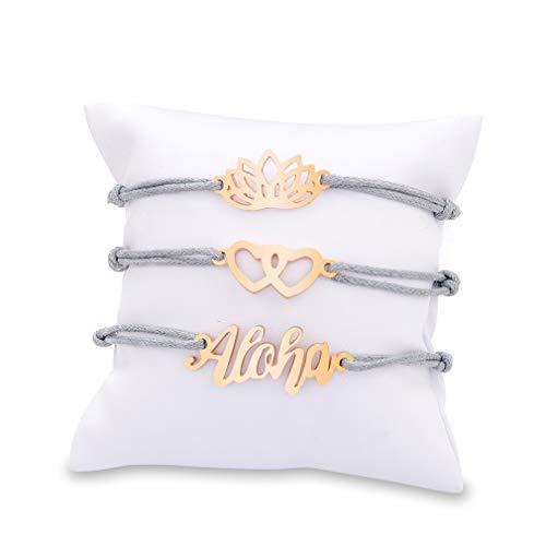 HYhy böhmischen mehrschichtigen Aloha Weben Seil Fußkettchen Armbänder Set Mode Vintage Charming Lotus Blume Herz Aloha Design Sommer Strand Armreif Armband Armband Schmuck Geschenk für Frauen Mädchen