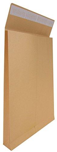 Idena 10253 - Faltentasche, DIN B4, mit 4 cm Bodenfalte, 150 g/m², haftklebend, ohne Fenster, 100 Stück, FSC-Recycled, natron-braun