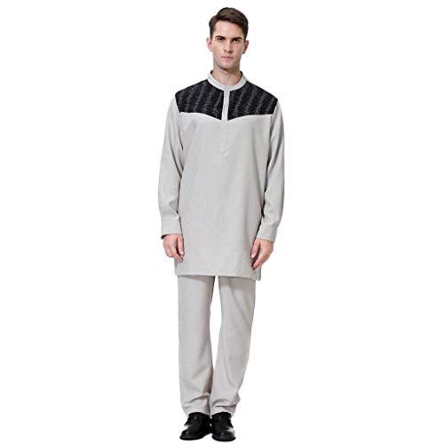 Zolimx Herren Anzug, Casual Langarm Slim Fit Hemd Bluse Tops + Hosen Freizeitanzug Sets, Berühmtes Kostüm Arabische Robe Kleidung (Sweatshirt Gap Männer)