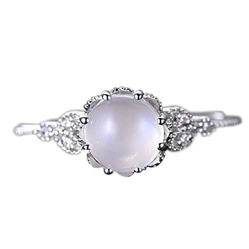 Cwemimifa Damen Ring Türkise Steine 925er Sterlingsilber, Mondstein Diamant verkrusteten Ring stilvollen Ring Verlobungsring, Silber, 7#