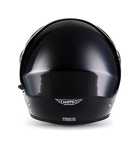 MOTO F19 Gloss Black · Roller-Helm Integral-Helm Helmet Cruiser Klapp-Helm Modular-Helm Motorrad-Helm Scooter-Helm Sturz-Helm Flip-Up-Helm · ECE zertifiziert · zwei Visiere · inkl. Stofftragetasche · Schwarz · L (59-60cm) - 4