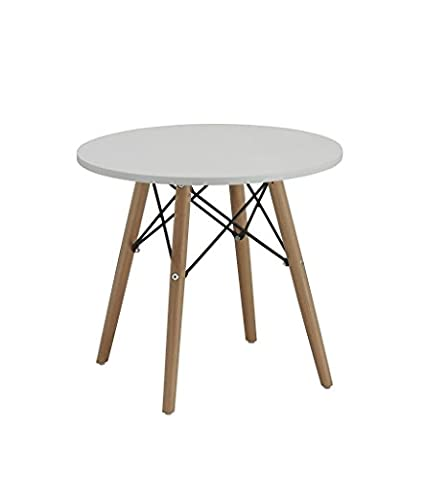 Side Table End Table White Round Wood Retro Design Coffee Table Duhome 0176