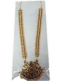 Long Chain With Red Stones And Pearls