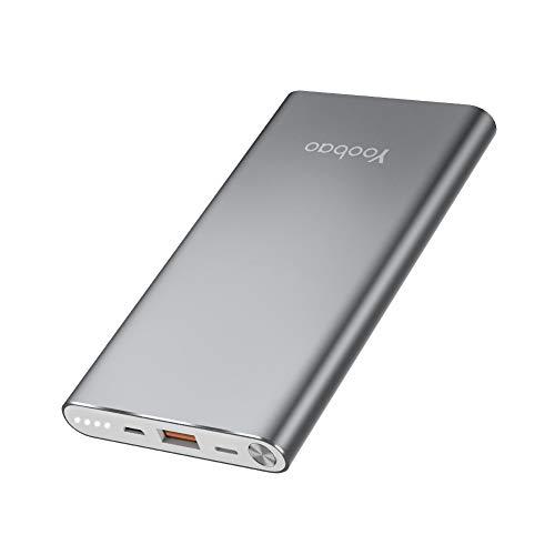 Yoobao Powerbank 10000mAh AkkuPack mit Micro USB & Apples Lightning-Anschluss Aufladen Handy Ladegerät Kompatibe für iPhone/Xiaomi/Huawei/Samsung Galaxy (Grau)