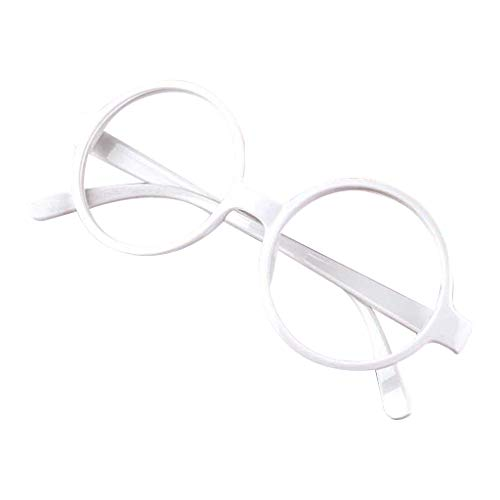chenpaif Retro Nerd Style Cute Baby Round Glasses Frame No Lenses Candy Color Plastic Mother Daughter Cosplay Party Costume Eyewear White