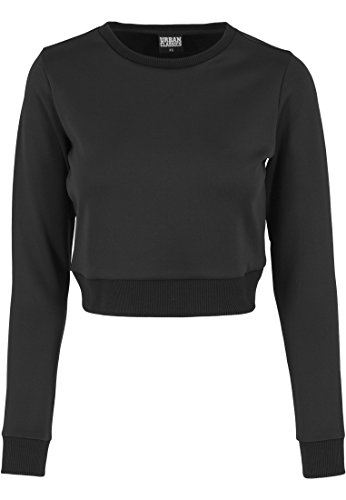 Urban Classics Damen Pullover Pullover Scuba Cropped Crew Schwarz (Schwarz) Medium