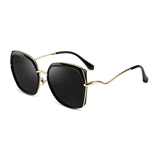 Thirteen Bunte Film Sonnenbrille Weiblich Polarisierten Großen Rahmen Gesicht Kleines Gesicht Retro Brille, Verwendet Für Anti-uv Sonnencreme Dekoration Reise. (Color : Black)