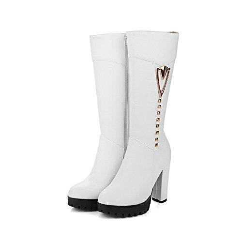 VogueZone009 Donna Alta Altezza Cerniera Tacco Alto Stivali con Ornamento Di Metallo Bianco