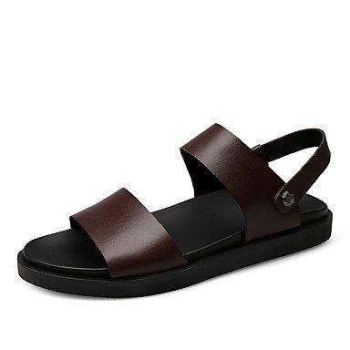 Confort d'été, sandales pour hommes occasionnels en PU Brun Noir Brown